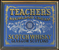 Teachers Highland Cream Scotch Whisky Brass Framed Vintage Bar Mirror
