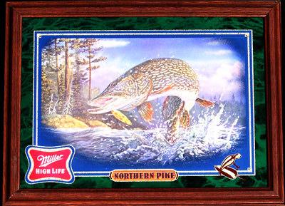 Miller High Life Fish Series Northern Pike Wildlife Mirror