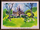 The Beringer Rhine House Napa Valley Spring 1982 Watercolor Framed Print