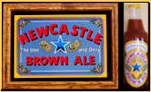 Newcastle Brown Ale Oak Framed Mirror with Free Inflatable Bottle
